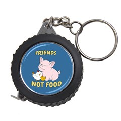 Friends Not Food   Cute Pig And Chicken Measuring Tape by Valentinaart