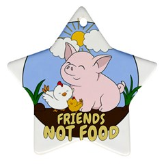 Friends Not Food   Cute Pig And Chicken Ornament (star) by Valentinaart