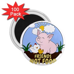 Friends Not Food   Cute Pig And Chicken 2 25  Magnets (100 Pack)  by Valentinaart