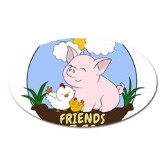 Friends Not Food   Cute Pig And Chicken Oval Magnet by Valentinaart
