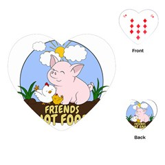 Friends Not Food   Cute Pig And Chicken Playing Cards (heart)  by Valentinaart