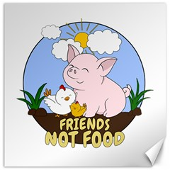 Friends Not Food   Cute Pig And Chicken Canvas 12  X 12   by Valentinaart