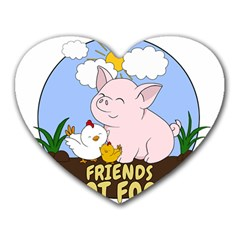 Friends Not Food   Cute Pig And Chicken Heart Mousepads by Valentinaart