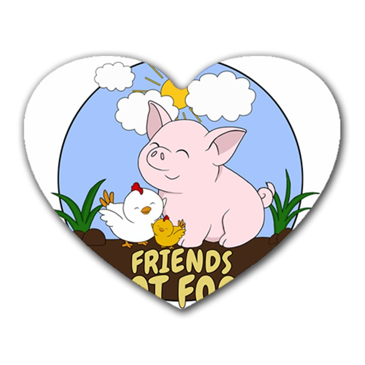 Friends Not Food - Cute Pig and Chicken Heart Mousepads