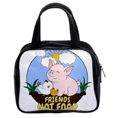 Friends Not Food   Cute Pig And Chicken Classic Handbags (2 Sides) by Valentinaart
