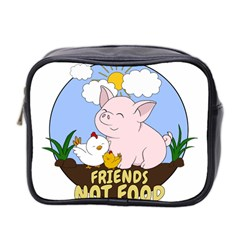 Friends Not Food   Cute Pig And Chicken Mini Toiletries Bag 2 Side by Valentinaart