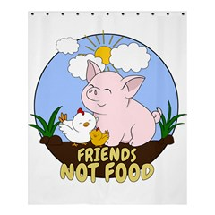 Friends Not Food   Cute Pig And Chicken Shower Curtain 60  X 72  (medium)  by Valentinaart