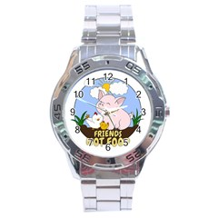Friends Not Food   Cute Pig And Chicken Stainless Steel Analogue Watch by Valentinaart