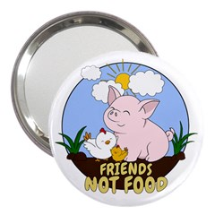 Friends Not Food - Cute Pig And Chicken 3  Handbag Mirrors by Valentinaart