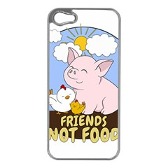 Friends Not Food   Cute Pig And Chicken Apple Iphone 5 Case (silver) by Valentinaart