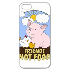 Friends Not Food   Cute Pig And Chicken Apple Seamless Iphone 5 Case (clear)