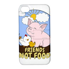 Friends Not Food   Cute Pig And Chicken Apple Iphone 4/4s Hardshell Case With Stand by Valentinaart