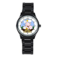Friends Not Food   Cute Pig And Chicken Stainless Steel Round Watch by Valentinaart