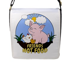 Friends Not Food   Cute Pig And Chicken Flap Messenger Bag (l)  by Valentinaart