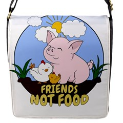 Friends Not Food   Cute Pig And Chicken Flap Messenger Bag (s)