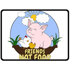 Friends Not Food   Cute Pig And Chicken Double Sided Fleece Blanket (large)  by Valentinaart