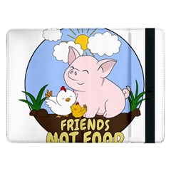 Friends Not Food   Cute Pig And Chicken Samsung Galaxy Tab Pro 12 2  Flip Case by Valentinaart