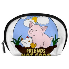 Friends Not Food   Cute Pig And Chicken Accessory Pouches (large)  by Valentinaart