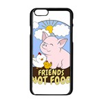 Friends Not Food - Cute Pig and Chicken Apple iPhone 6/6S Black Enamel Case Front