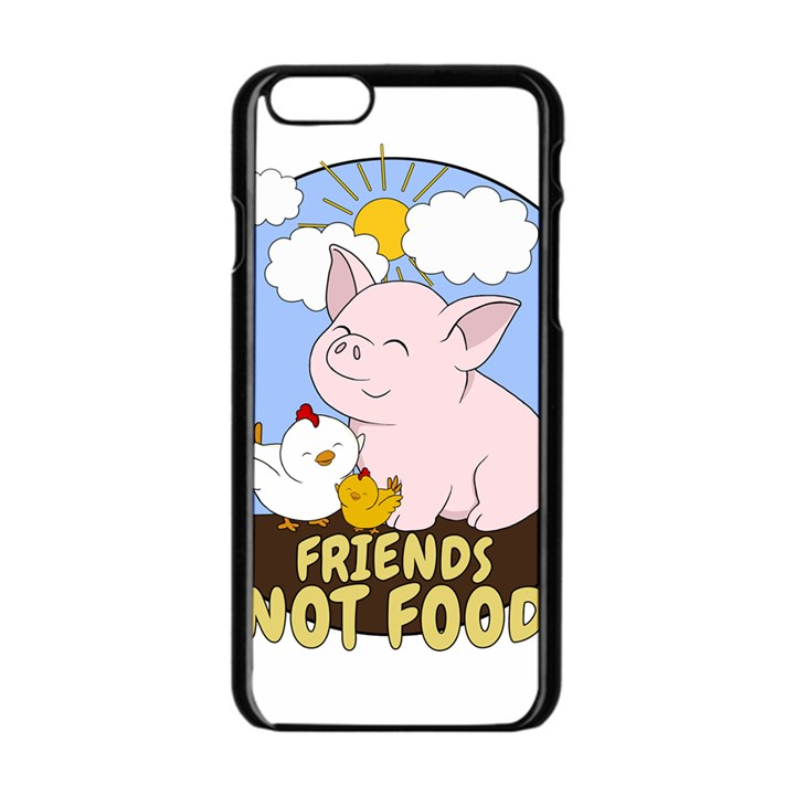 Friends Not Food - Cute Pig and Chicken Apple iPhone 6/6S Black Enamel Case
