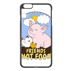 Friends Not Food   Cute Pig And Chicken Apple Iphone 6 Plus/6s Plus Black Enamel Case by Valentinaart