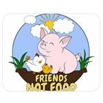 Friends Not Food - Cute Pig and Chicken Double Sided Flano Blanket (Medium)  60 x50  Blanket Back