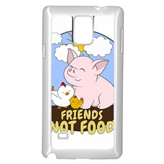 Friends Not Food   Cute Pig And Chicken Samsung Galaxy Note 4 Case (white) by Valentinaart