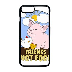 Friends Not Food   Cute Pig And Chicken Apple Iphone 8 Plus Seamless Case (black) by Valentinaart