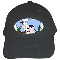 Friends Not Food   Cute Cow, Pig And Chicken Black Cap by Valentinaart