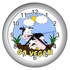Friends Not Food   Cute Cow, Pig And Chicken Wall Clocks (silver)  by Valentinaart