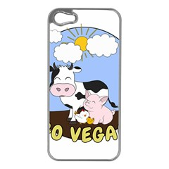 Friends Not Food   Cute Cow, Pig And Chicken Apple Iphone 5 Case (silver)