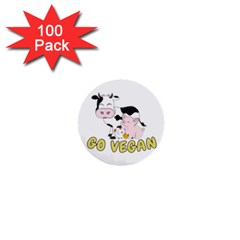Friends Not Food   Cute Cow, Pig And Chicken 1  Mini Buttons (100 Pack)  by Valentinaart