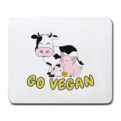 Friends Not Food   Cute Cow, Pig And Chicken Large Mousepads by Valentinaart