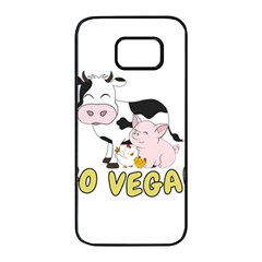 Friends Not Food - Cute Cow, Pig And Chicken Samsung Galaxy S7 Edge Black Seamless Case by Valentinaart
