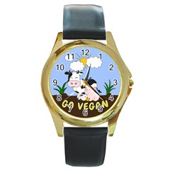 Friends Not Food   Cute Cow, Pig And Chicken Round Gold Metal Watch by Valentinaart