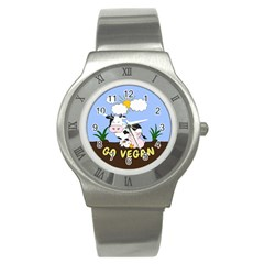Friends Not Food   Cute Cow, Pig And Chicken Stainless Steel Watch by Valentinaart