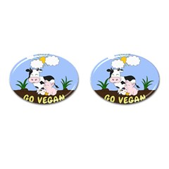 Friends Not Food   Cute Cow, Pig And Chicken Cufflinks (oval) by Valentinaart