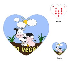 Friends Not Food   Cute Cow, Pig And Chicken Playing Cards (heart)  by Valentinaart