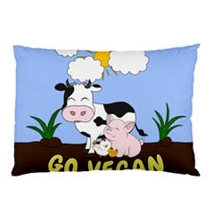 Friends Not Food   Cute Cow, Pig And Chicken Pillow Case by Valentinaart