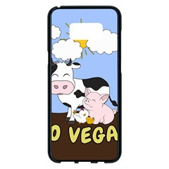 Friends Not Food   Cute Cow, Pig And Chicken Samsung Galaxy S8 Plus Black Seamless Case by Valentinaart