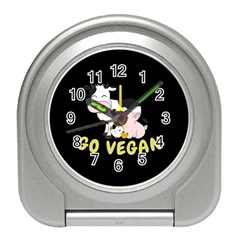 Friends Not Food - Cute Cow, Pig And Chicken Travel Alarm Clocks by Valentinaart