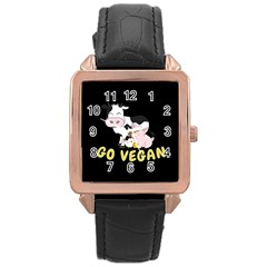 Friends Not Food   Cute Cow, Pig And Chicken Rose Gold Leather Watch  by Valentinaart