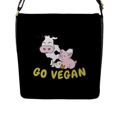 Friends Not Food   Cute Cow, Pig And Chicken Flap Messenger Bag (l)  by Valentinaart