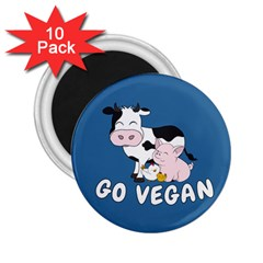 Friends Not Food   Cute Cow, Pig And Chicken 2 25  Magnets (10 Pack)  by Valentinaart