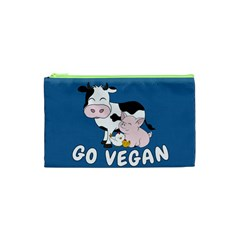 Friends Not Food   Cute Cow, Pig And Chicken Cosmetic Bag (xs) by Valentinaart