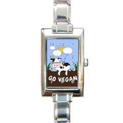 Friends Not Food   Cute Cow Rectangle Italian Charm Watch by Valentinaart