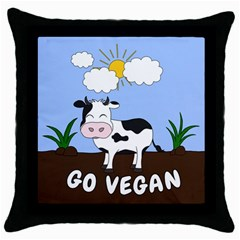 Friends Not Food   Cute Cow Throw Pillow Case (black) by Valentinaart