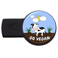 Friends Not Food   Cute Cow Usb Flash Drive Round (2 Gb) by Valentinaart