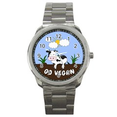 Friends Not Food   Cute Cow Sport Metal Watch by Valentinaart
