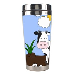 Friends Not Food   Cute Cow Stainless Steel Travel Tumblers by Valentinaart